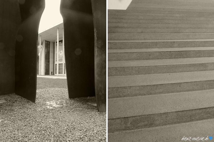 Außenansicht und Treppe der Pinakothek der Moderne
