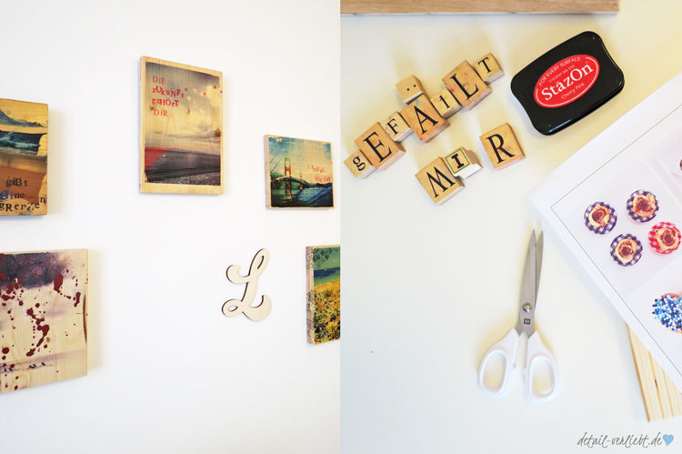 Bilder und Buchstaben als Wandschmuck (links), Arbeitsmaterial: Stempel, Schere, Ausdruck, Holz (rechts)