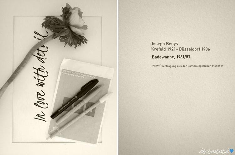 Fundstücke aus dem Museumsshop und Legende für Beuys-Kunstwerk