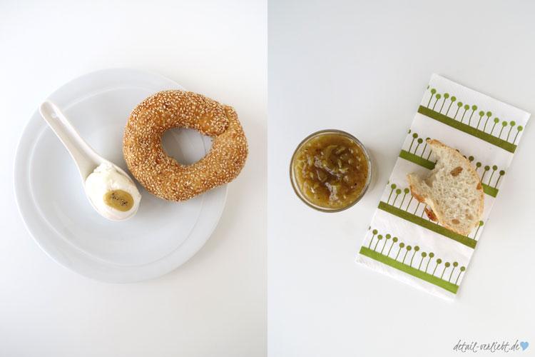 Pochiertes Ei und Zucchinirelish