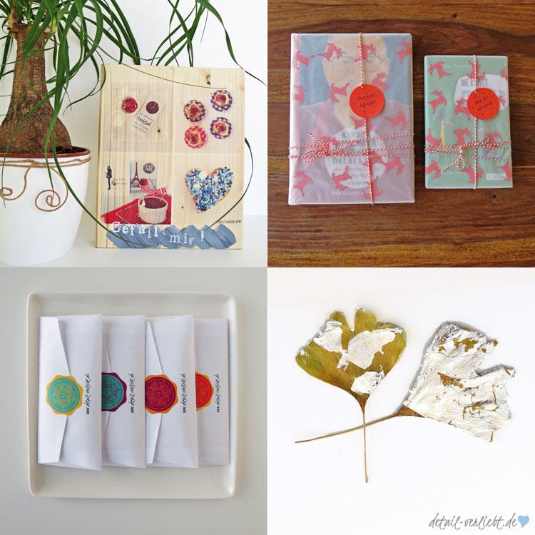 Thema DIY: Holzbild, kreative Geschenkverpackung, Schokoladenverpackung als Free Printable, herbstliche Dekoration mit Ginkgo-Blätter und Blattsilber! Blog-Jahresrückblick 2015: Backen, DIY, Geschenke aus der Küche, Bücher, Sweet Table und Blumen