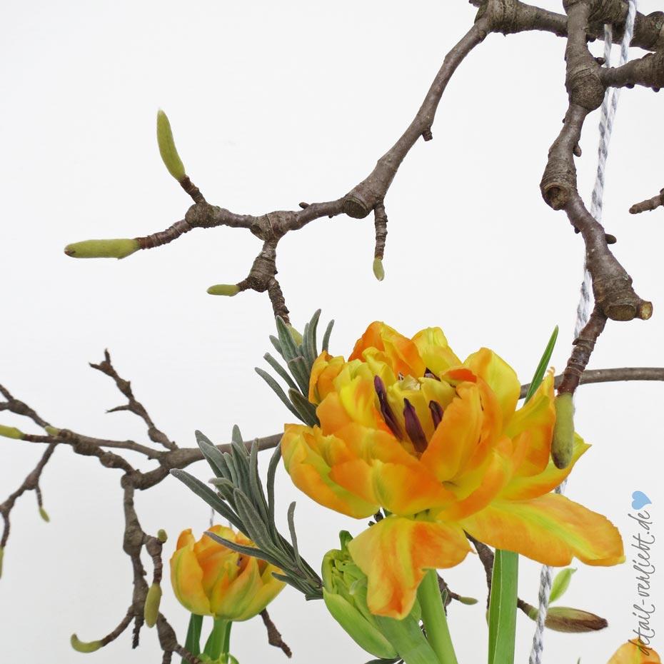"""detail-verliebt.de: Florale Arrangements: Tulpen und Magnolienzweig. Schnittblumen kann jeder zu floralen Arrangements zusammen stellen. Das zeigt das Buch """"Dekoideen mit Schnittblumen"""" frischen, stilvollen und ungezwungenen Ideen."""