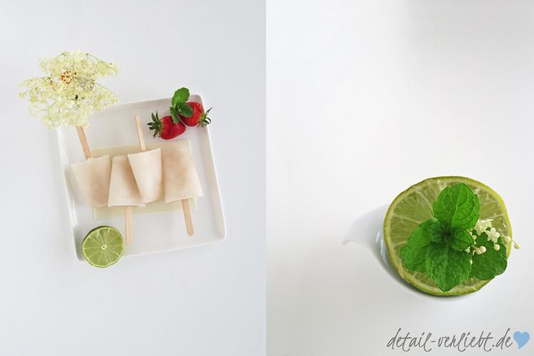 www.detail-verliebt.de: Rezept für ein erfrischendes Eis am Stiel mit Holunderblüten, Minze und Limette