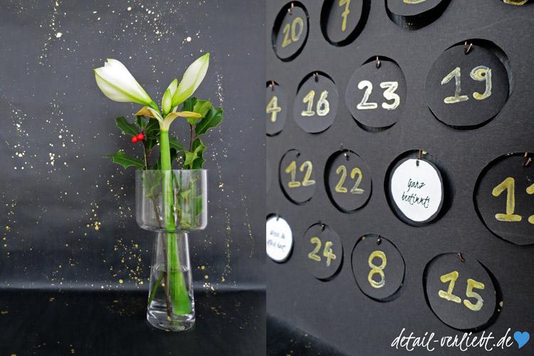 www.detail-verliebt.de: Das Adventsorakel ist ein ungewöhnlicher DIY-Adventskalender, der alle wichtigen Fragen rund um die Adventszeit beantwortet; mit weisser Amarylis.