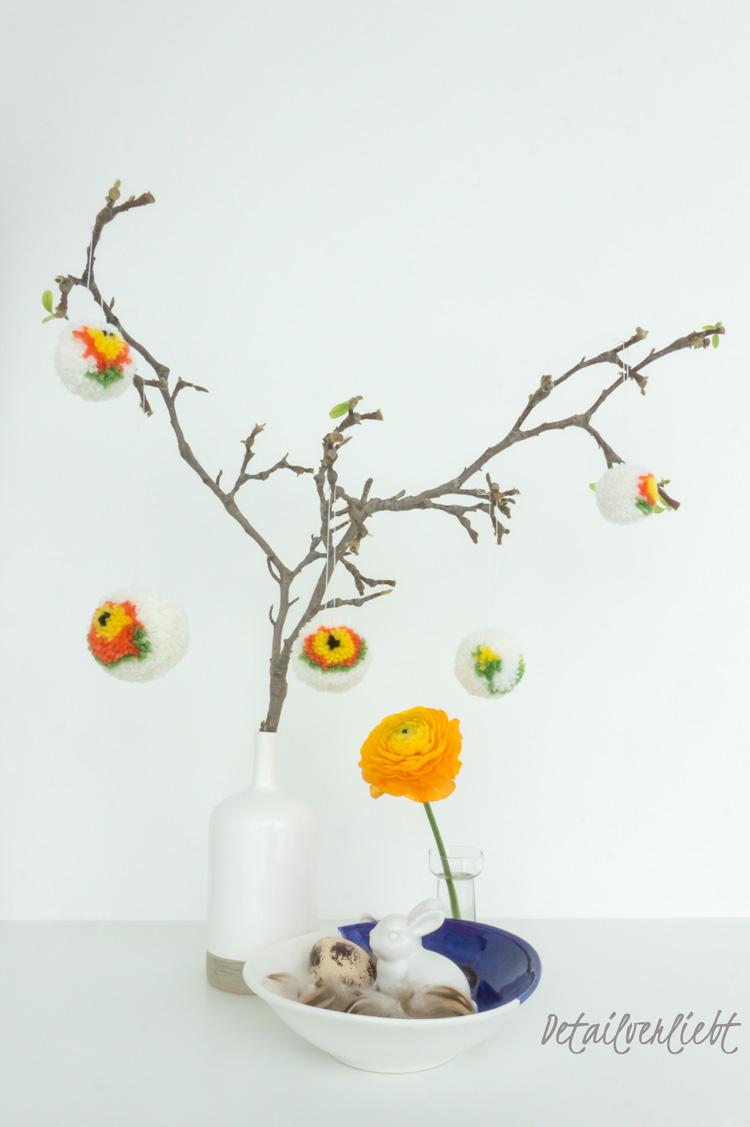 www.detail-verliebt.de: Inspiration für Pompoms mit Blumenmuster