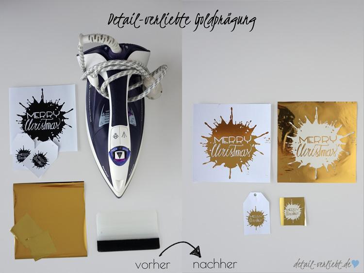 www.detail-verliebt.de: Detailverliebte Goldprägung für Geschenkanhänger und Grußkarte zu Weihnachten