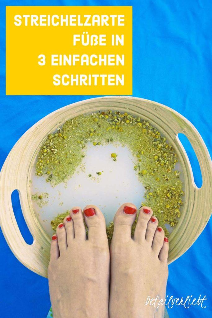 www.detail-verliebt.de: Schöne Füße kann jeder haben. Mit 3 einfachen Schritten bekommst Du streichelzarte Füße ganz einfach: DIY Fußbad, Fußpeeling und Fußbalsam selber machen.